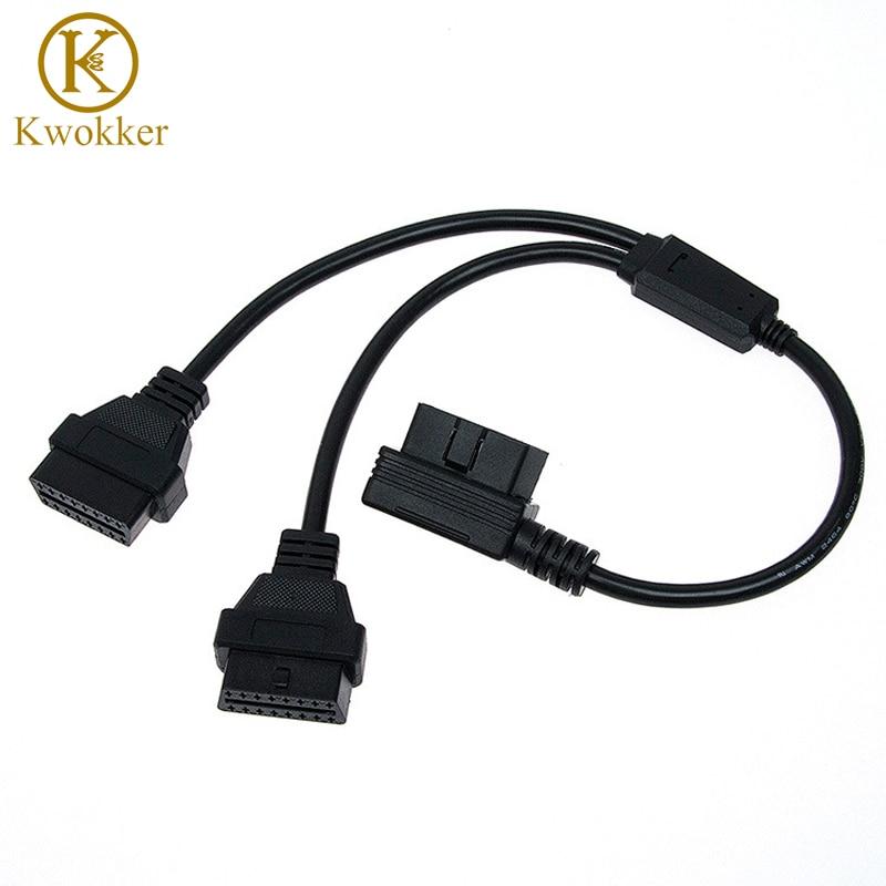 OBD2 L Form 1 zu 2 Verlängerung Kabel Ellenbogen 90 grad OBD2 Kabel 16 pin Verbindung Linie L-form auto Diagnose Stecker Kabel
