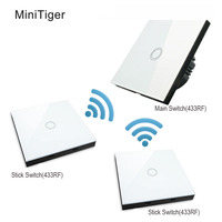 Free Shipping MiniTiger EU Standard 1 Gang 3 Way Touch Switch Wireless Remote 433Mhz 1527 Chip