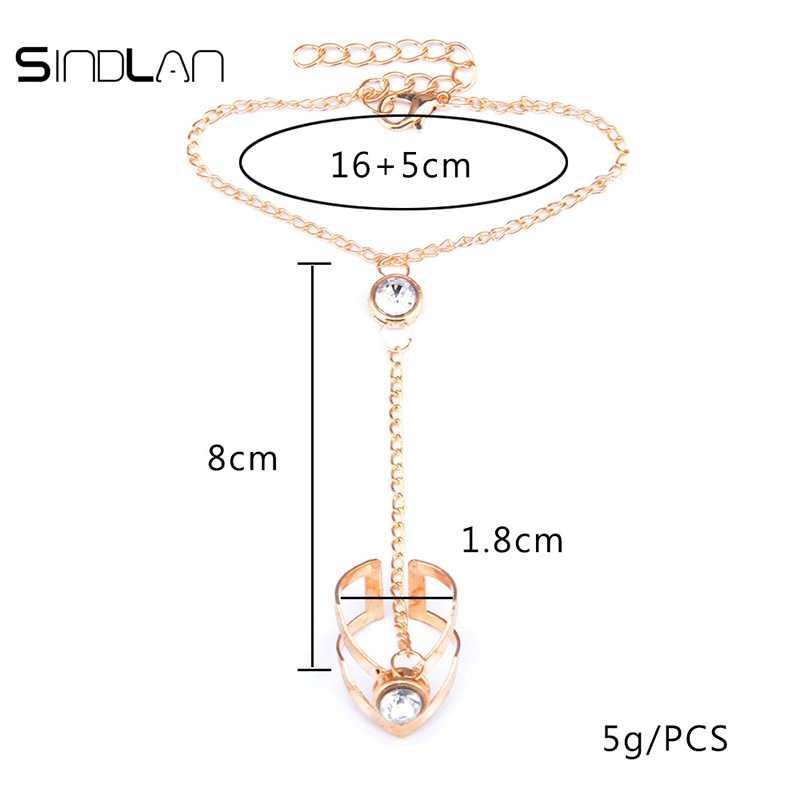Sindlanแฟชั่นสวยคริสตัลBilezik Rhinestoneสร้อยข้อมือกำไลข้อมือเชื่อมต่อห่วงโซ่ลายนิ้วมือแหวนกำไลทองและแหวนสำหรับผู้หญิง