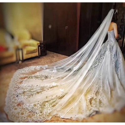 JIN IS YARN 3 5 Meter White Ivory Cathedral Wedding Veils Long Lace Edge Bridal Veil