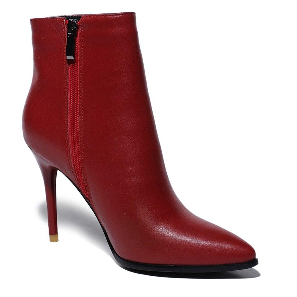 Femmes Véritable Stiletto Bottes En Cheville Rouge Size34 39 Maguidern rouge Talons Pointu Noir Bout Noir Hiver Qualité Cuir 5IP4q