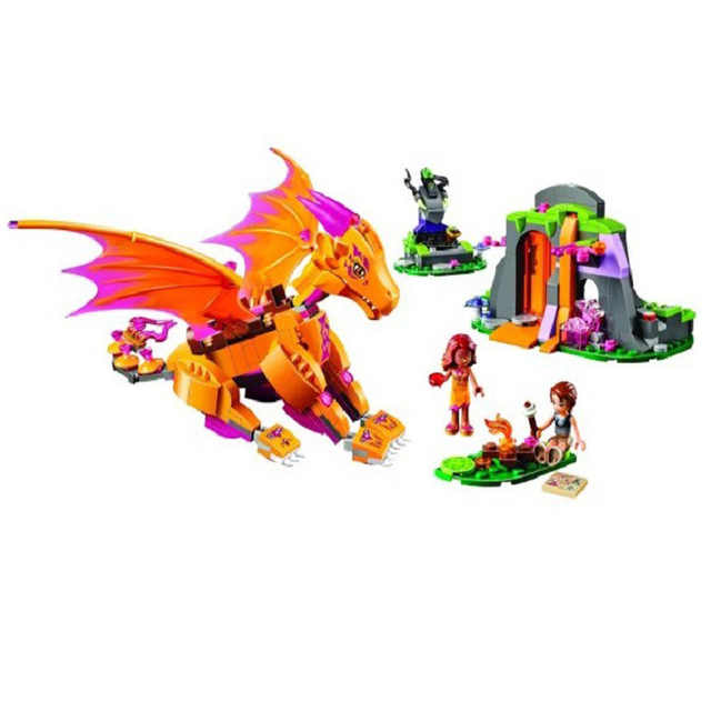 mylb NEW Elves Fire Dragon's Lava Cave 446pcs/set Legoed Fairy  building block toys for Children drop shipping