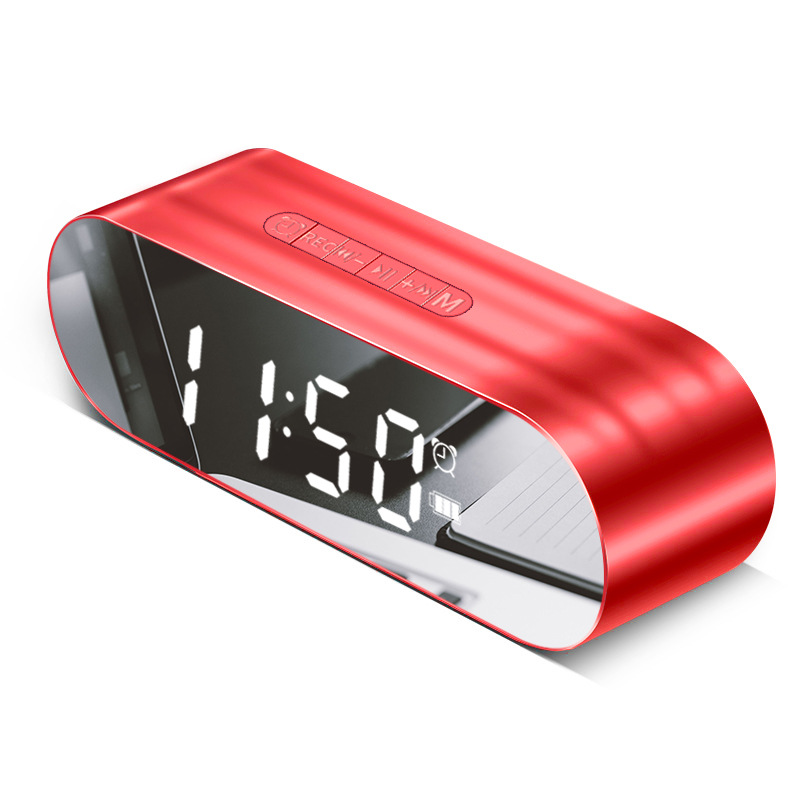 Mirror Bluetooth speaker card earned portable mini Alarm clock Multifunction mini wireless bluetooth speaker Play Video in Portable Speakers from Consumer Electronics