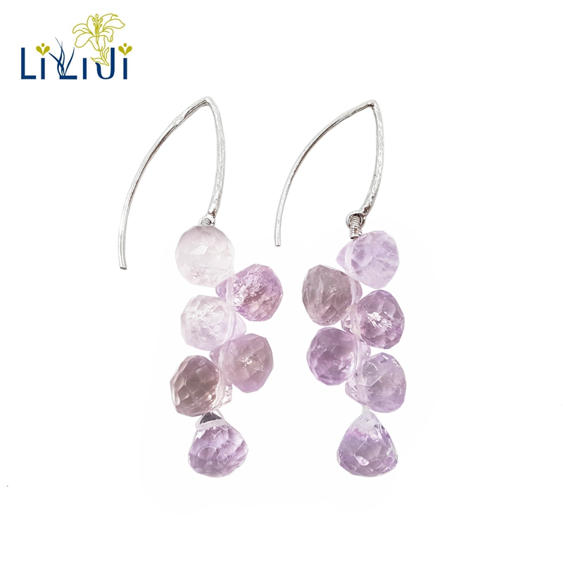 Lii Ji Natural Amethyst 7mm Tear Shape Faceted beads 925 Sterling Silver Drop Long Earrings