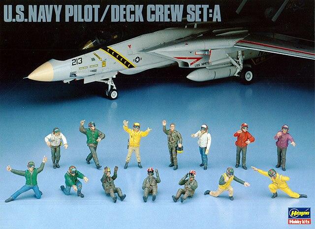 1/48 U.S. Navy Pilots and Ground Crew Set A Carrier Deck 36006