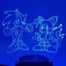 Sonic экшн-фигурка 3D ночной Светильник s светодиодный изменяющийся аниме Ёжик Соник Майлз Prower Sonic 3D светильник ing Новинка светильник Модель игрушка