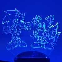 Di Sonic Action Figure 3D Luci notturne LED CAMBIARE Anime The Hedgehog Di Sonic Miles Prower Di Sonic 3D ILLUMINAZIONE Della Novità Della Luce Modello Giocattolo