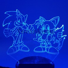 Sonic Action Figure 3D Night Lights LED Changing Anime The Hedgehog Miles Prower Lighting Novelty Light Model Toy