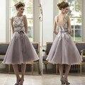 Элегантный Фиолетовый Белый Кружева мать Невесты Платье До Колен Короткая длина Жених Мать Платья с Пояса Свадебное Платье Партии платья