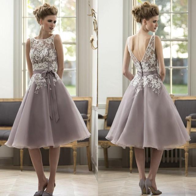 Elegante Branco Roxo Renda Mãe do Vestido Da Noiva Na Altura Do Joelho comprimento Curto Vestido de Festa de Casamento Do Noivo Mãe Vestidos com Caixilhos vestidos