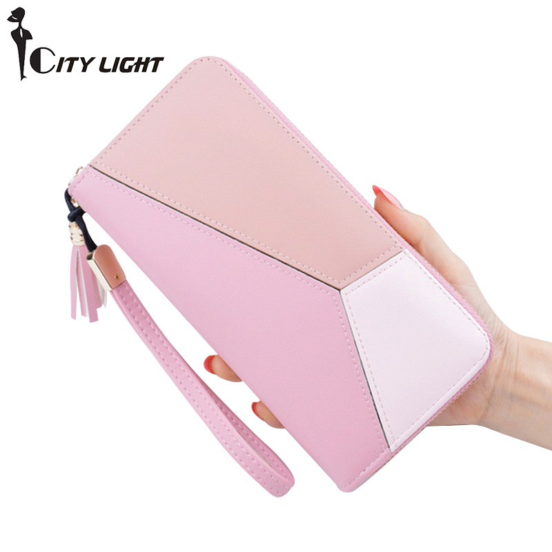 CITY LIGHT New Fashion Women Wallets PU Leather Zipper  Wallet Women's Long Design Purse Clutch Wrist Brand Mobile Bag мужская классическая рубашка fashion city 2015new