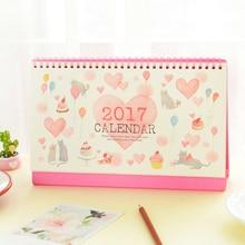 new arrival calendar 2017 cartoon cat holiday calendar planner agenda organizador desk calendario stationery(China (Mainland))
