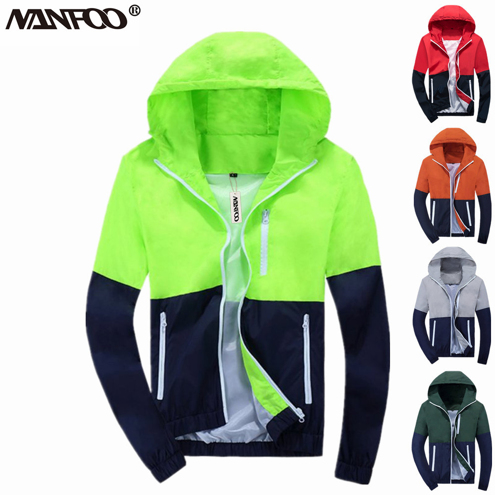Outdoor Running Climbing Jacket Patchwork Hooded Waterproof Hiking Windbreaker Men&Women UV Wind Coat Windproof Cycling Jacket
