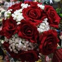 2017 Gerçek Görüntüler Yapay Kırmızı Gül Gelin Buketi Güzel Düğün Aksesuarları Düğün Çiçekleri Gelin Buketleri