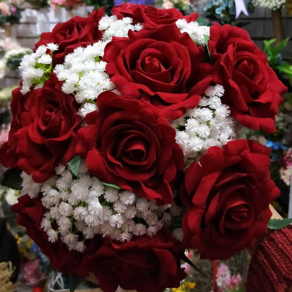 2018 Real Images Artificial Red Rose Wedding Bouquet