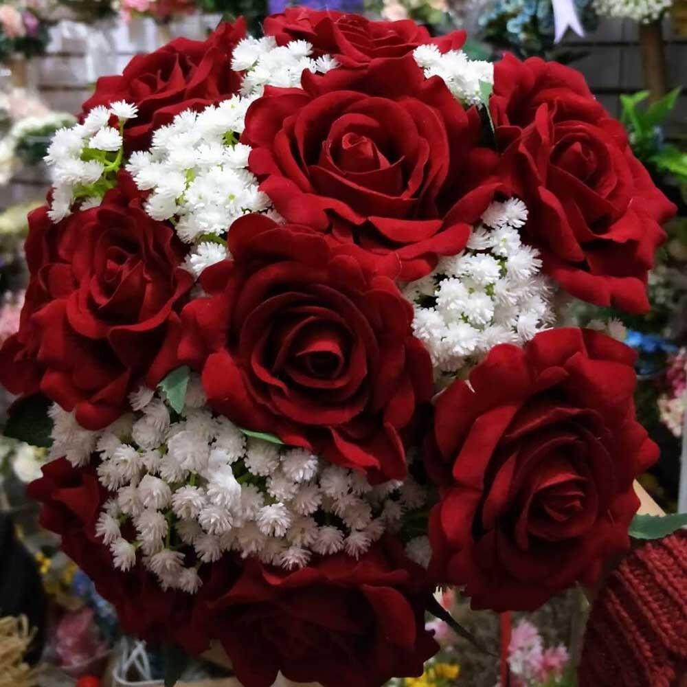 2019 Images réelles artificielle Rose rouge Bouquet de mariage beaux accessoires de mariage fleurs de mariage Bouquets de mariée