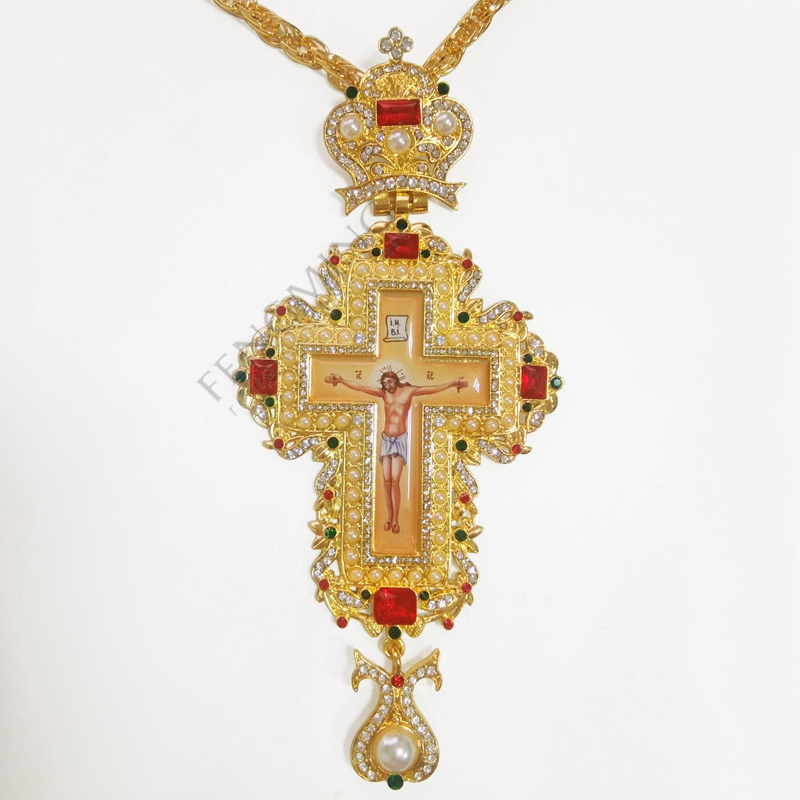 Us 4241 15 Offpriest Pectoral Cross High Quality With Gold Plating Orthodox Greek Cross Jewelry Pectoral Cross Chain In Christian Plaques From