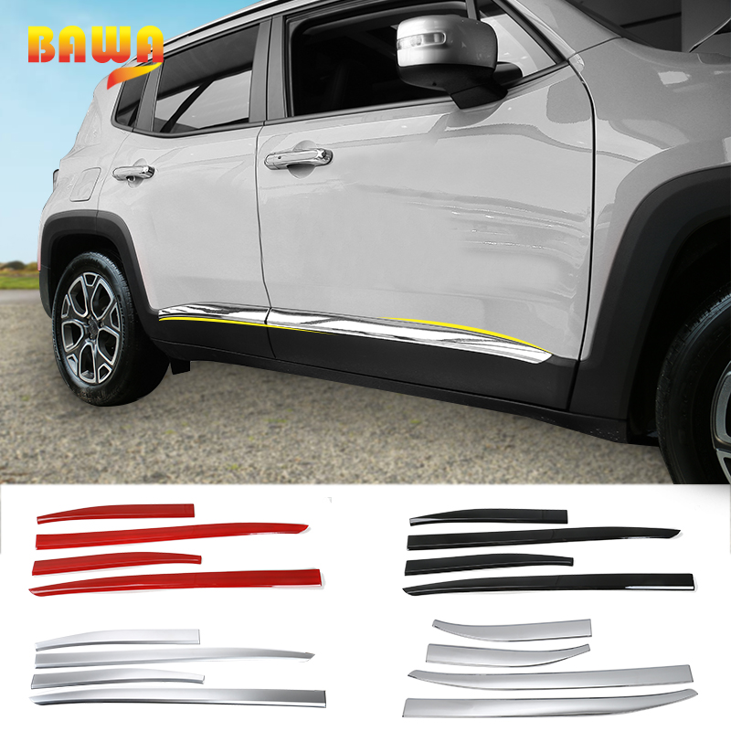 BAWA ABS Door Decoration Strip Accessories for Jeep Renegade 2016 2017 Car Body Side Stickers