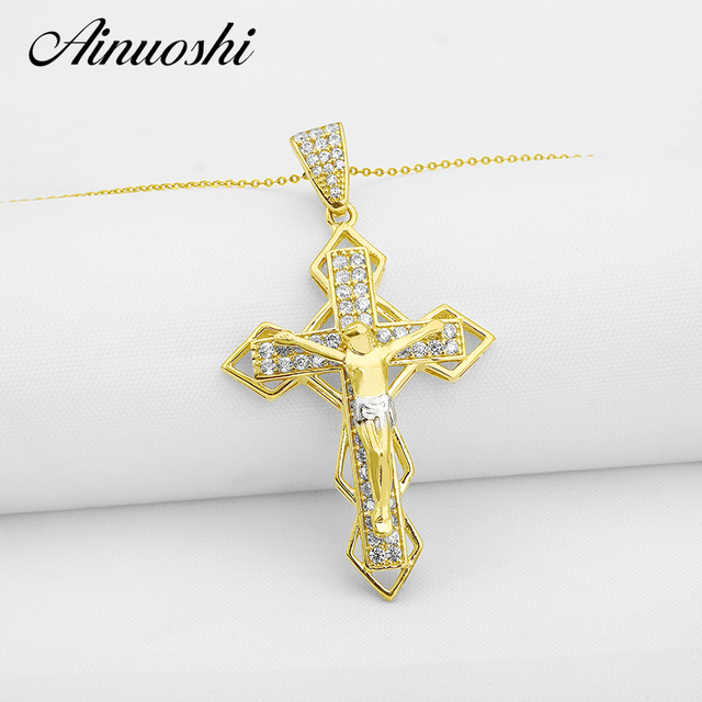 AINUOSHI 10k Solid Yellow Gold Women Cross Pendant Sona Simulated