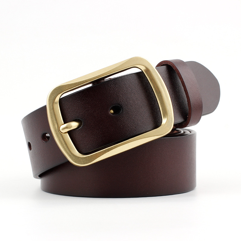 2018 New Luxury Brand Black Brown Wide Cow Genuine Leather Belt Men Gold Pin Buckle Strap Belts for Jeans Cinturones Para Hombre