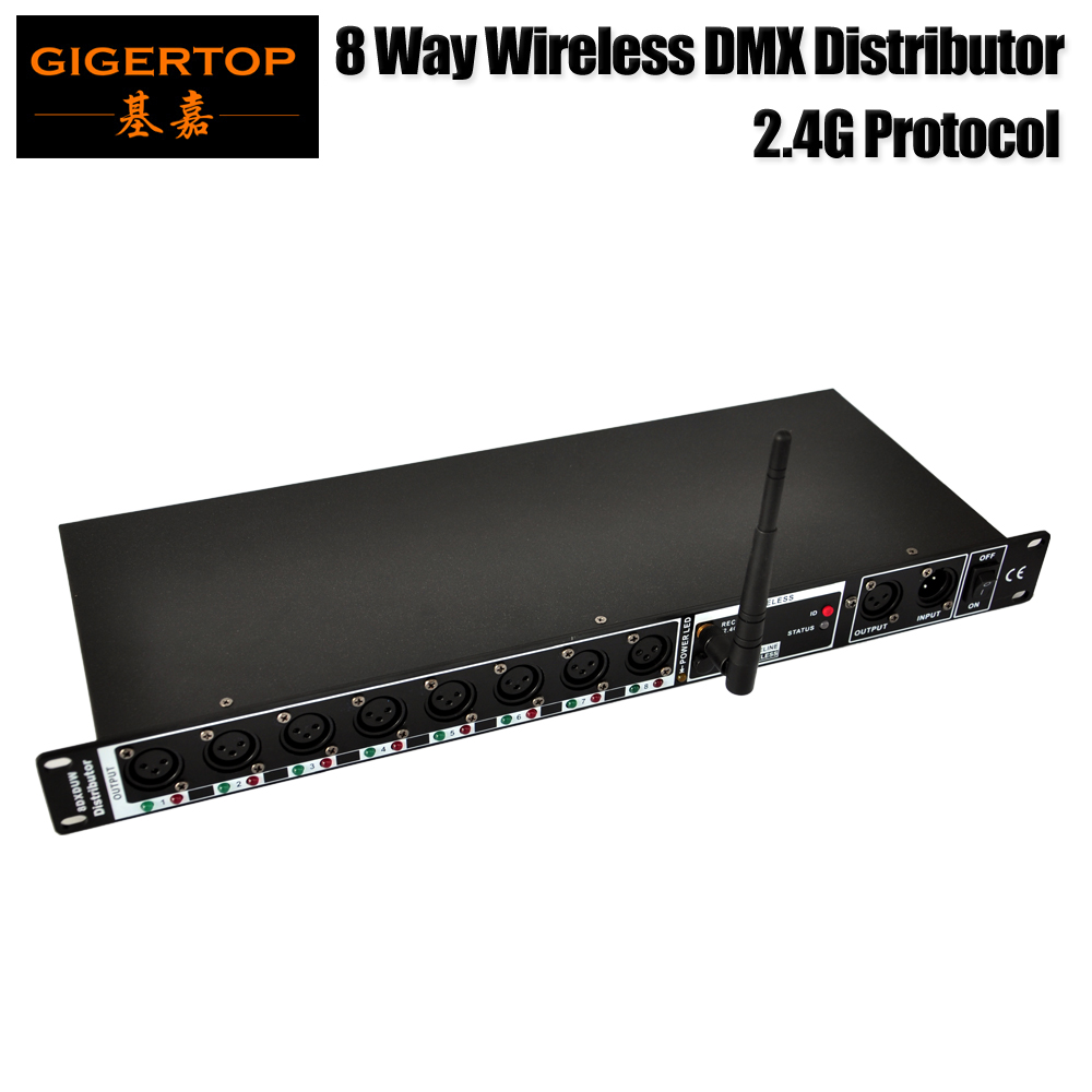 Gigertop TP D1331 2 4G Wireless 8 Way DMX Distributor Professional Stage Light Console Front Back