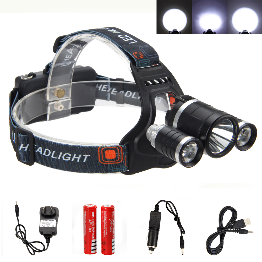 15000LM 3X XM-L T6 LED Headlaamp Fishing lamp Hunting Light Rechargeable Red Green UV Head Torch +2x 18650 Battery+Charger +USB