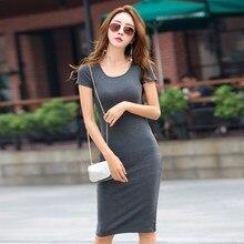 Summer Women Cotton T-shirt Dresses Female Bodycon Dress Korean Basic Short Sleeve Sexy