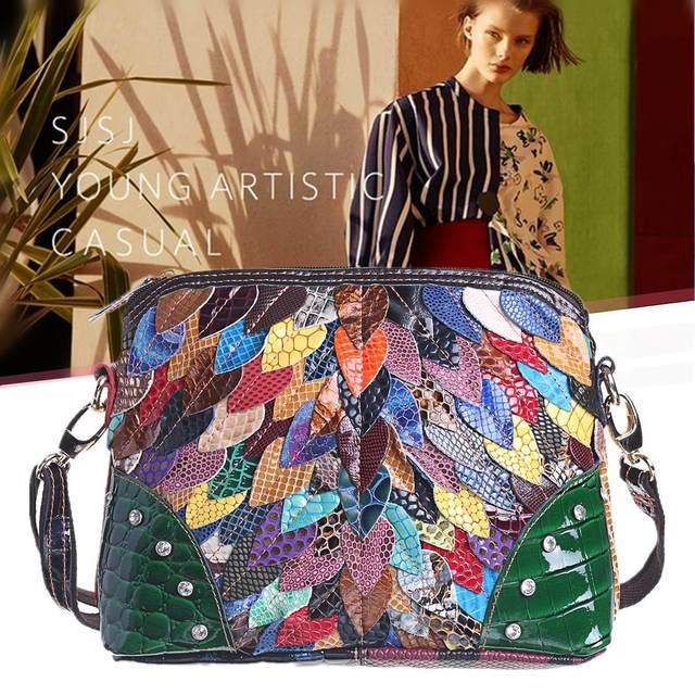 حقائب كتف نسائية فاخرة مصنوعة من الجلد الطبيعي حقيبة كروس الربيع حقيبة كروس حقائب نسائية لون عشوائي