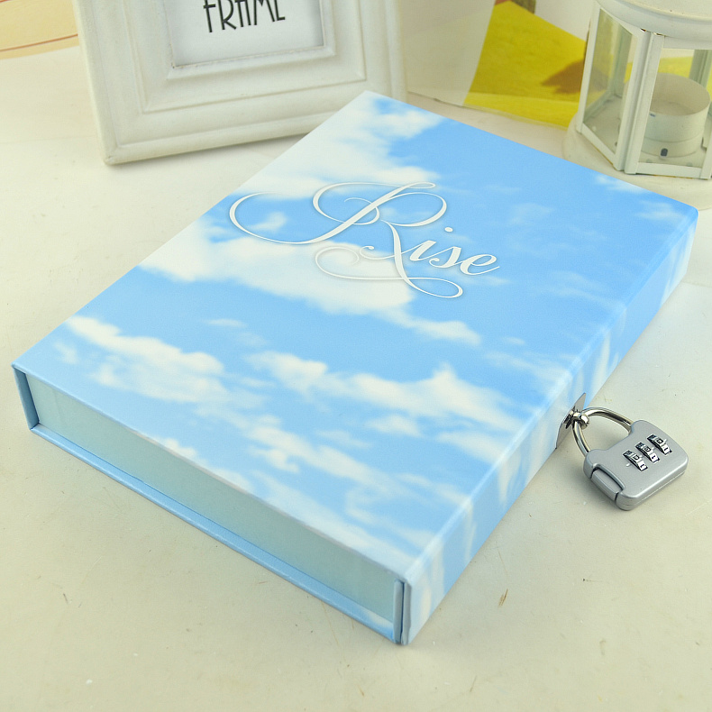 ФОТО Mercii Fashion Retro Pure Love Sky Paris Colors Diary with Lock Notebook Hardcover Box Secret Note Diary Business Gift