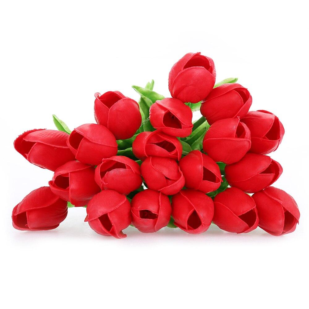 Haute Émulation Artificielle PU Tulipe Belle Fleur Aux Couleurs Vives Bouquet Parfait Pour La Maison Bureau Décoration De Partie De Mariage dans Artificielle et Fleurs Séchées de Maison & Jardin