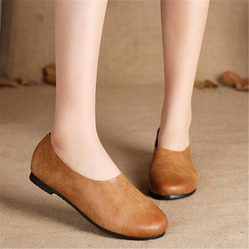 Women Casual  shoes of Japanese apricot lazy shoes retro Genuine Leather shoes handmade art Sen wholesale