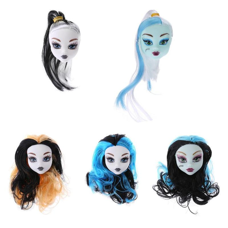 1pc Cute Girls Doll Heads Colorful Demon Monster Wig Hair Decoration Kids Toys Grils Gift Doll Accessories