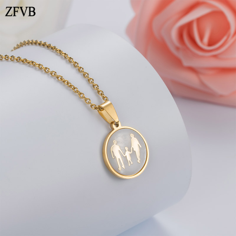 ZFVB Trendy Whole family DAD MOM SON Pendant Necklaces 316L Stainless steel Family Series Boys Pendants Seashell Jewelry Gift