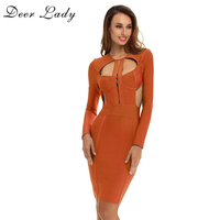 Spring 2017 Women Dresses Bandage Dress Celebrity Dresses Sexy Cut Out Long Sleeve Dress Bodycon Bandage
