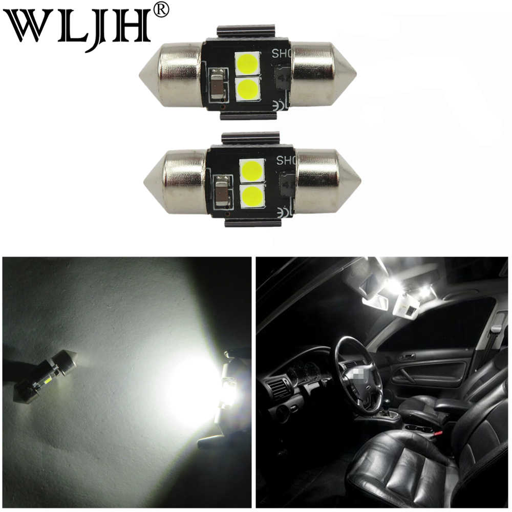 WLJH 2x White 3030 Chip DE3021 DE3022 28mm 29mm LED Festoon Lamp Bulb Car Interior Dome Map Reading Sunvisor Vanity Mirror Light