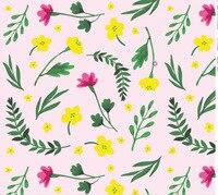 2017 Nova Rosa Flor Amarela Tecido Chiffon As Mulheres Se Vestem de Impressão Folha Verde Material de Pano Diy Home Decor Tecidos para Cortinas