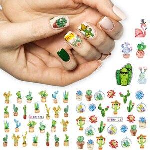 Image 3 - 12 pçs inverno prego slider água decalques cactus flamingo picada gecko abacaxi unha arte manicure decoração adesivo dicas CHBN1261 1272