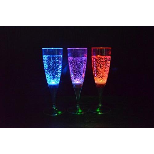 Top Deals 6 Set LED Light Wine Flute Light Up Liquid Activated Champagne Glasses