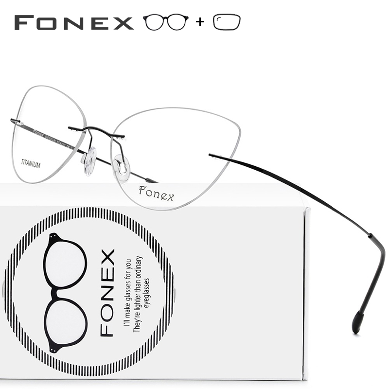 Rimless Titanium Alloy Prescription Glasses Ultralight Cateye Eyeglasses Women Myopia Optical Frame Ladies Screwless Eyewear(China)