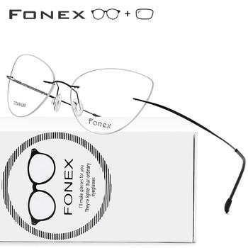 c836696c5c Montura de aleación de titanio gafas ultraligero de ojo de gato gafas de mujeres  miopía marco óptico de Damas sin tornillos gafas