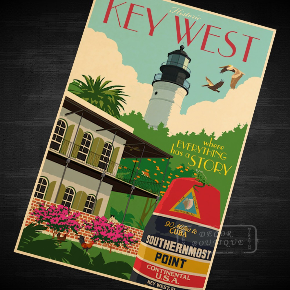 Key West Florida UNS Trave Kunst Klassische Vintage Retro Dekorative ...