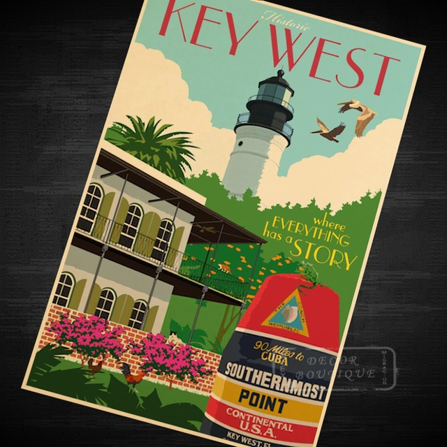 Key West Florida US Trave Art Classic Vintage Retro Decorative Frame Poster  DIY Wall Canvas Stickers