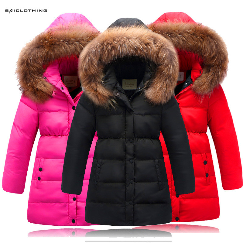 2017 Fashion Girls Children Thick Duck Down Coats Grils Warm Long Model Down Jackets Fur Coats For Cold Winter Girl Cloth 4-13Y fashion girl winter down jackets coats warm baby girl 100% thick duck down kids jacket children outerwears for cold winter b332