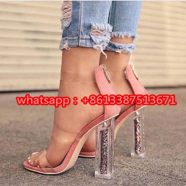 New Summer Transparent Triple Strap Sandals in Clear Peep Toe Lucite Block  Heel Embellished Rainbow Glitter Sandals Shoes Woman 3877740df84d