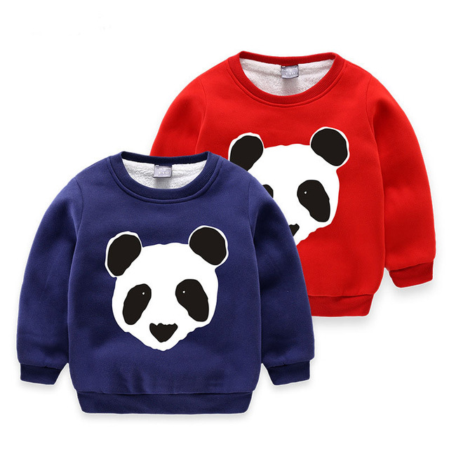 Children Baby Girl Boys Long Sleeve Cute Panda Casual Sweatshirts add Velvet Clothes Kids Boys Cotton Sweatshirt Tops Clothing