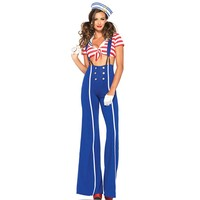 4 Pcs Sexy Sailor Costume Women Navy Costume With Stripe Hat For Halloween Cosplay Party Stage Show Navy Clothing
