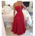 W791 2017 buena calidad rojo largo de la gasa a line con cuentas de perlas de baile vestido 2017 elegantes hermosos vestidos de fiesta