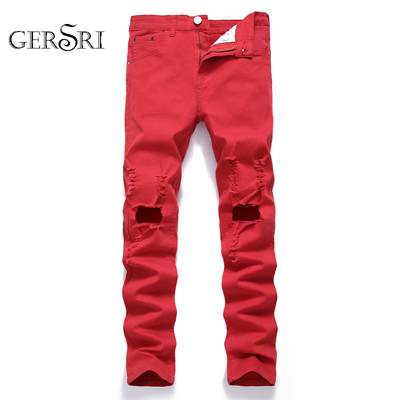 Gersri Jeans For Men Knee Hole Faded Ripped Distressed Stretch Straight Pants Dropshipping Brand Student Cowboy Pants Jeans
