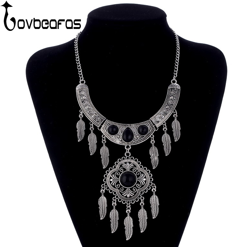 LOVBEAFAS 2018 Fashion Maxi Statement Long Necklaces & Pendants Leaves Tassel Collar Vintage Collier Necklace Women Jewelry