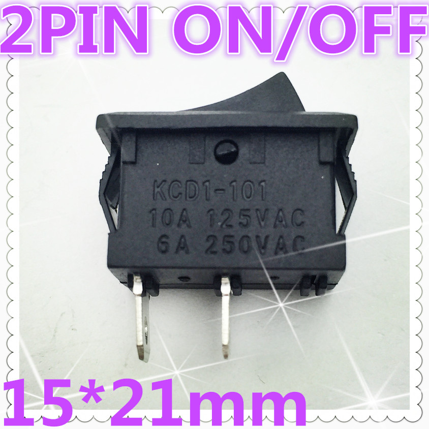 10pcs G133 15*21mm 2PIN SPST ON/OFF Boat Rocker Switch 6A/250V 10A/125V Car Dash Dashboard Truck RV ATV Home  Sell At A Loss USA 5pcs g124 green led light spst 3pin on off boat rocker switch 16a 250v 20a 125v car dash dashboard truck rv atv sell at loss